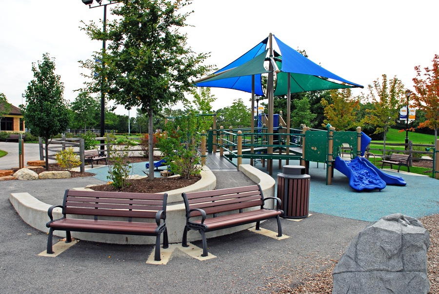 Playgrounds, benches, waste containers, and other site amenities